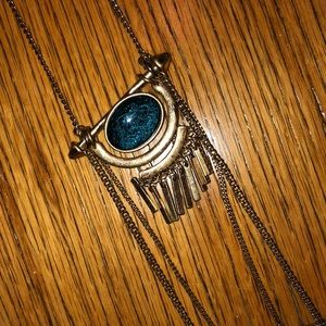 Jewelry - Gold and teal long necklace